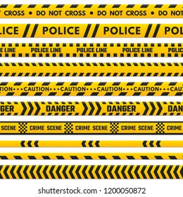Police black and yellow line do not cross. Barricade boundary isolated by danger tape. Crime scene barrier stripes, industrial striped tape barriers  set isolated on white background