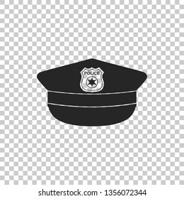 Police cap with cockade icon isolated on transparent background. Police hat sign. Flat design.