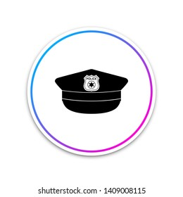 Police cap with cockade icon isolated on white background. Police hat sign. Circle white button