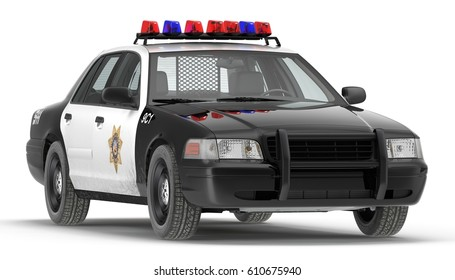 Police car 3d illustration isolated on white front view