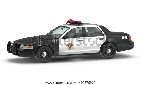 Police Car 3d Illustration Isolated On Stock Illustration 610675922