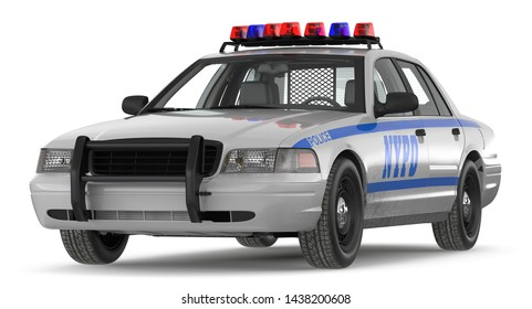 Police car 3d illustration on white background