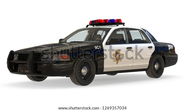 Police Car 3d Illustration On White Stock Illustration 1269357034