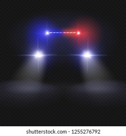 Police car headlight beams isolated on dark transparent background. Automobile at night road concept