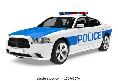 Police Car Isolated. 3D rendering