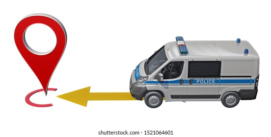 police car rides to the point pin map. 3d rendering