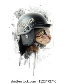Police cat illustration.Hand drawn painting.Animal graphics.Custom print design for all types of surfaces.