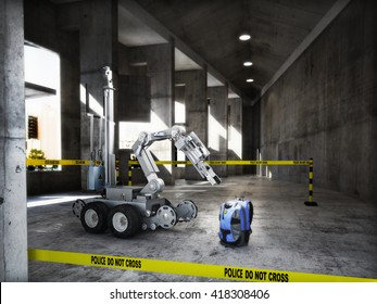 Police controlled bomb squad robot inspecting a suspicious backpack item inside a building interior.3d rendering.
