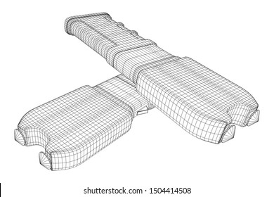Police electro shocker taser stun gun. Wireframe low poly mesh 3d render illustration