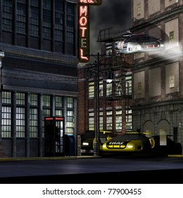 Police hover car, fly's down a deserted street . Two stories below  two taxi cabs hover parked outside a run down motel building. Futuristic science fiction illustration.
