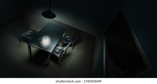 police interrogation room with double sided mirror and dramatic lighting /3D rendering. illustration