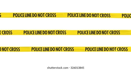 Police line Do Not Cross Tape Lines Isolated on White