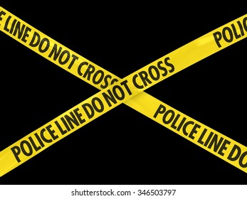 Police Line Do Not Cross Tape Cross on Black Background