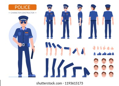 Police man character  for animation. Front, side and back view.  Flat style  illustration isolated on white background.