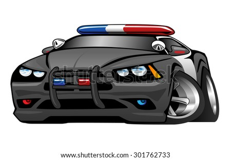 Police Muscle Car Cartoon Illustration Stock Illustration 301762733