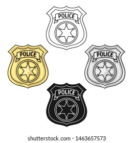 Police officer badge icon in cartoon style isolated on white background. Crime symbol stock bitmap illustration.