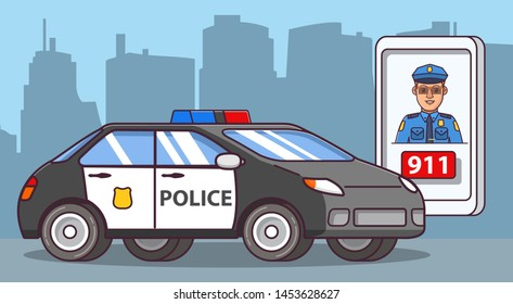 Police officer cartoon character. Police car side view. Patrol vehicle of emergency services beacon.Application smartphone emergency call.Flat line art. Concept of design of a poster.