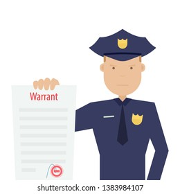 police officer holding arrest warrant. Clipart image isolated on white background