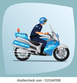 Police officer, man of police force, in uniform of policeman, with typical outfit for law enforcement agency, riding on motorcycle patrol. Side view. Raster version of illustration