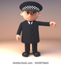 Police officer on duty and in uniform gestures with arm to the left, 3d illustration render
