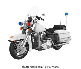 Police Patrol Motorcycle Isolated. 3D rendering