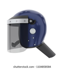 Police Riot Helmet with Closed Glass Visor. Side view. Police service Protect equipment. Template 3D render illustration Isolated on white background.
