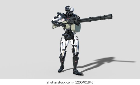 Police robot, law enforcement cyborg, android cop shooting machine gun on white background, 3D rendering