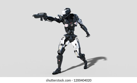 Police robot, law enforcement cyborg, android cop aiming and shooting gun on white background, 3D rendering