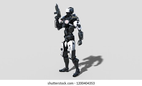 Police robot, law enforcement cyborg, android cop armed with gun isolated on white background, 3D rendering