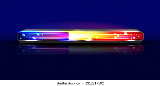 Police siren flasher beacon light illustration. Isolated realistic long red and blue horizontal alarm LED lamp with loudspeaker on background