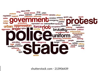 Police state concept word cloud background