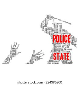 Police state word cloud shape concept