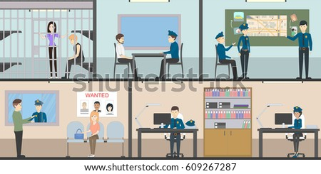 Police Station Interior Set With Rooms. Office Room, Witness Interview Room,  Prison Cell