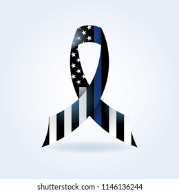 A police support flag ribbon with thin blue line illustration.