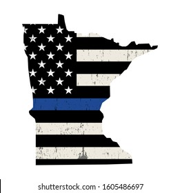 A police support flag in the shape of the state of Minnesota illustration.