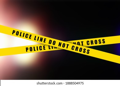 Police tape, crime danger line. Caution police lines isolated. Warning tapes. Set of yellow warning ribbons.