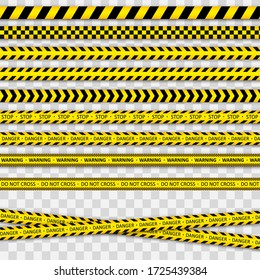 Police tape. Warning tapes against threats. Black and yellow striped line. Records with caution and signs of danger.