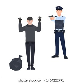Policeman in police uniform pointing gun at robber or burglar. Cop arresting thief standing with hands up. Detention of criminal. Cartoon characters isolated on white background. illustration