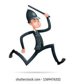 Policeman Run Security Protection Order Law Cartoon Mascot 3d Character Menu Design  Illustrator
