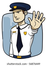 Policeman saying stop. Not allowed.