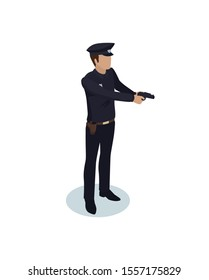 Policeman in working dress have gun at ready model form, side view. Order guardian with weapon realistic isometric character isolated raster.