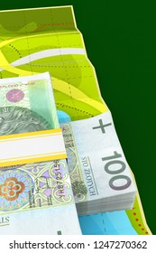 Polish currency lying on map on green background. 3d illustration