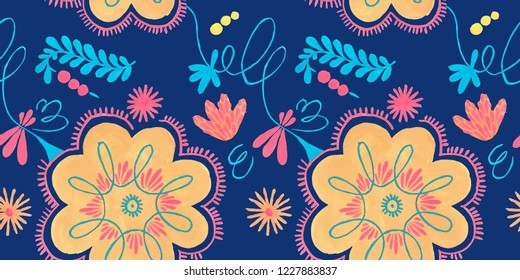Polish herbal pattern with orange flowers decor, traditional Polish folk seamless Pattern with floral illustrations.