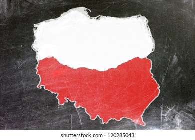 Polish map on a black plate. Map drawn with white chalk.