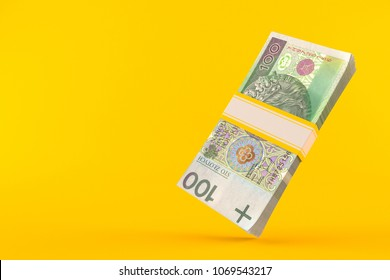Polish zloty isolated on orange background. 3d illustration