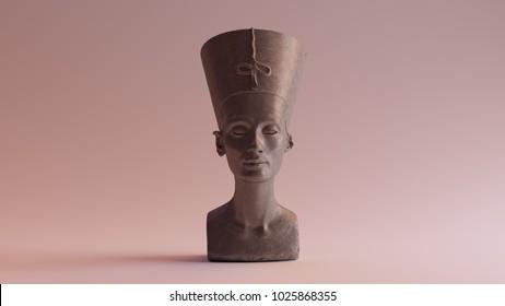 Polished Stone Bust of Nefertiti 3d illustration
