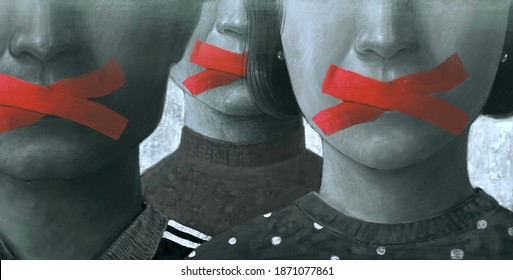 Political art, Concept idea of free speech freedom of expression and censored, surreal painting, portrait illustration , conceptual artwork illustration