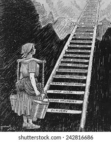 Political cartoon entitled, THE SKY IS NOW HER LIMIT, women's progress from Slavery and House drudgery to Presidency. New York Times Current History; a monthly magazine. October 1920.