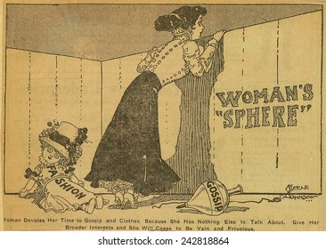 Political cartoon shows woman peering over a fence labeled 'Woman's Sphere' while her toys 'Fashion' and 'gossip' lay abandoned. By Merle De Vore Johnson, 1909.
