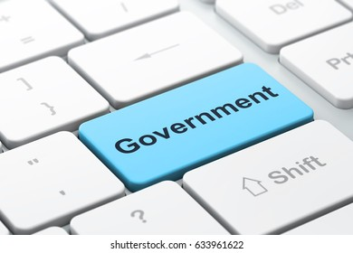 Political concept: computer keyboard with word Government, selected focus on enter button background, 3D rendering